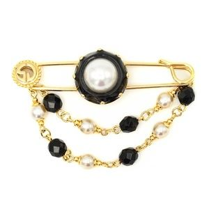 St. John Signature Black Enameled Pearl Brooch